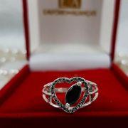 Anel Prata Feminino Coração Trabalhado Pedra 2 Aros Zircônia Negra