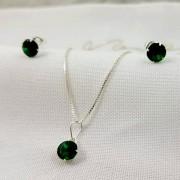 Conjunto Prata Feminina Pedra Verde