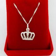 Gargantilha Coroa Desenhada Prata 925 Feminina Singapura 45cm