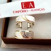 Par de Aliança de Prata com Ouro