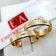 Par de Aliança Ouro 10k Casamento