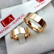 Par de Aliança Ouro 10k Casamento Noivado