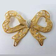 Pingente Laço Ouro 18kl Médio Pedra Brilhante Aplique Ouro Branco 3,60 Gramas