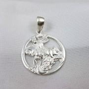 Pingente São Jorge Prata Medalha