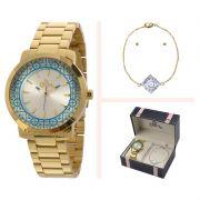 Relógio Allora Feminino Dourado Analógico Metal Kit Semi Joia AL2035EYZ/K4K
