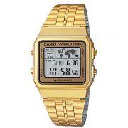 Relógio Casio Unissex Dourado Vintage Aço Inox Hora Mundi Digital A500WGA-9DF