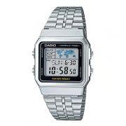 Relógio Casio Unissex Prata Vintage Aço Inox Hora Mundi Digital A500WA-1DF