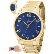 Relógio Champion Feminino Dourado Aço Analógico Elegance CN26117A