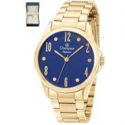 Relógio Champion Feminino Kit Semi Jóia Dourado Aço Analógico Elegance CN26242K