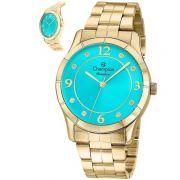 Relógio Champion Feminino Dourado Aço Analógico Rainbow CN29909O