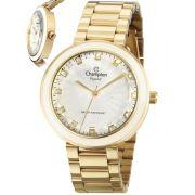 Relógio Champion Feminino Dourado Analógico Crystal Metal CN29972H