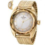 Relógio Champion Feminino Dourado Analógico Crystal CN27858H