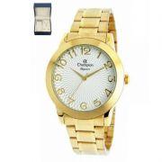 Relógio Champion Feminino Dourado Kit Semi Joia Elegance Analógico CN26733W