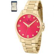 Relógio Champion Feminino Dourado Kit Semi Joia Elegance Analógico CN27563J