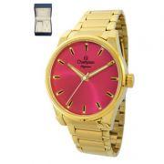 Relógio Champion Feminino Dourado Kit Semi Joia Metal Analógico Elegance CN27590J