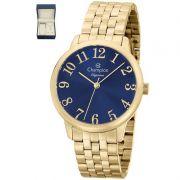 Relógio Champion Feminino Kit Semi Jóia Dourado Analógico Elegance CN26162K