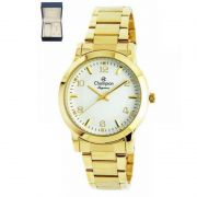 Relógio Champion Feminino Kit Semi Jóia Dourado Analógico Elegance CN26822W