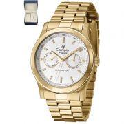 Relógio Champion Feminino Kit Semi Jóia Dourado Analógico Passion CH38360W