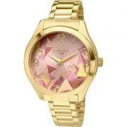 Relógio Condor Feminino Dourado Aço Inox Analógico Geométrico CO2036KOD/4T
