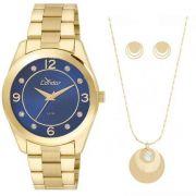 Relógio Condor Feminino Dourado Aço Inox Analógico Kit Semi Joia CO2035KLW/K4A