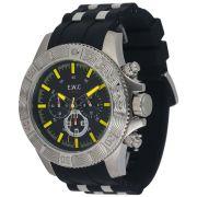 Relógio E.W.C Masculino Cronógrafo Borracha Preto Aço Inox Colossal EMT15301-A