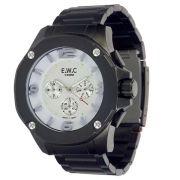 Relógio E.W.C Masculino Cronógrafo Preto Aço Inox Colossal EMT-14027-B