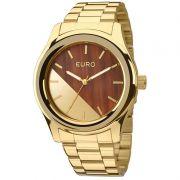 Relógio Euro Feminino Dourado Aço Analógico Fashion Madeira EU2036MAA/4M