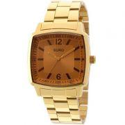 Relógio Euro Feminino Dourado Aço Quadrado Fumê Casual EU2035XZP/4D