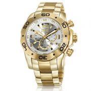 Relógio Everlast Masculino Dourado Cronógrafo Aço Inox Analógico E543