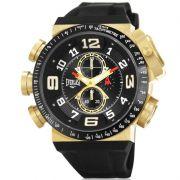Relógio Everlast Masculino Dourado Silicone Cronógrafo E611