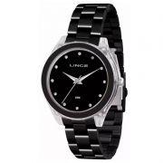 Relógio Lince Feminino Aço Inox Preto Acrílico Analógico LRN4431P P1PX