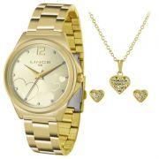 Relógio Lince Feminino Dourado Aço Kit Semi Joia Analógico LRG4560L KV16C2KX