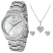 Relógio Lince Feminino Prata Aço Kit Semi Joia Analógico LRM4560L KV36B2SX