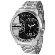 Relógio Lince Masculino Prata Aço Inox Dual Time Analógico MRMH049S P2SX