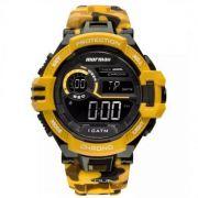 Relógio Mormaii Masculino Silicone Camuflado amarelo Digital MO1134/8L