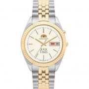 Relógio Orient Masculino Calendário Aço Inoxidável Prata Dourado 469ED1 C1KS