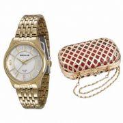 Relógio Seculus Feminino Dourado Analógico Aço Kit Bolsa 23444LPSVDA1K1