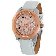 Relógio W.Z.W Feminino Couro Branco Cronógrafo Multi Função WZW-7270