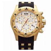 Relógio W.Z.W Masculino Cronógrafo Borracha Preto Big Case Esportivo WZW-7211