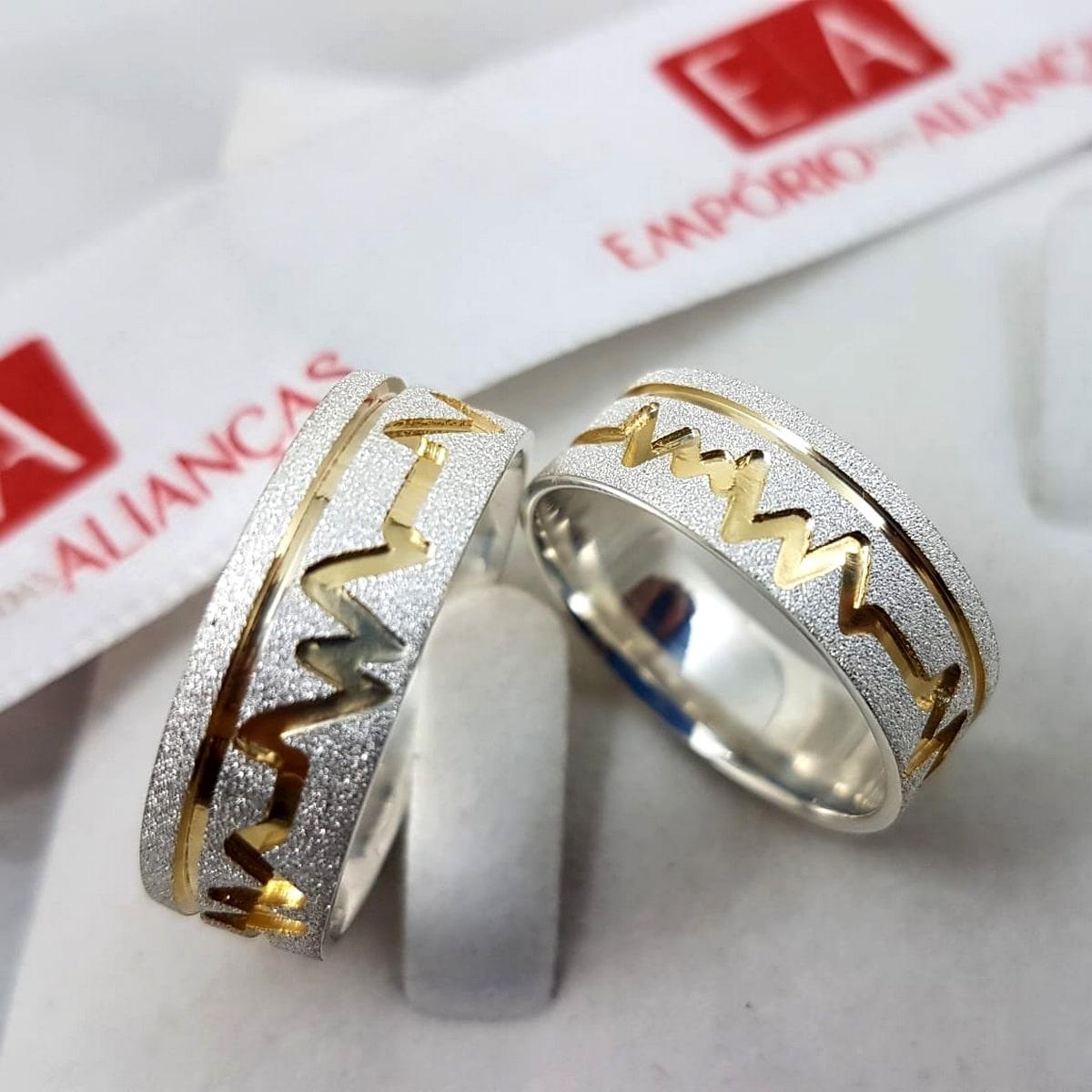 Alianças de Prata com Ouro Batimento Cardíaco