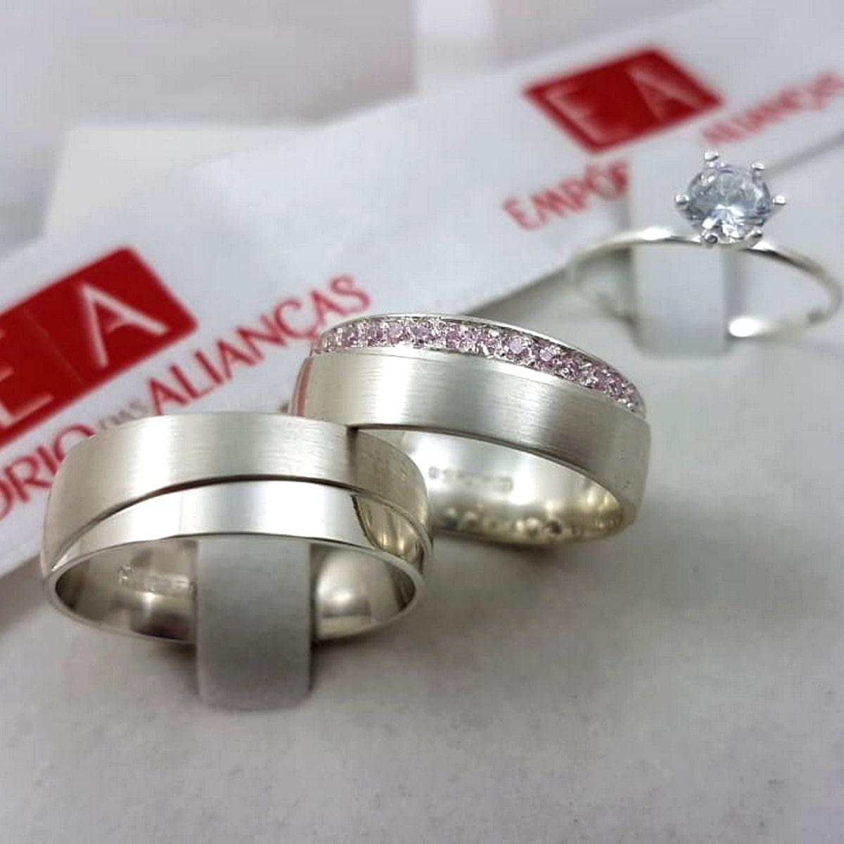 Alianças de Prata Pedra Rosa