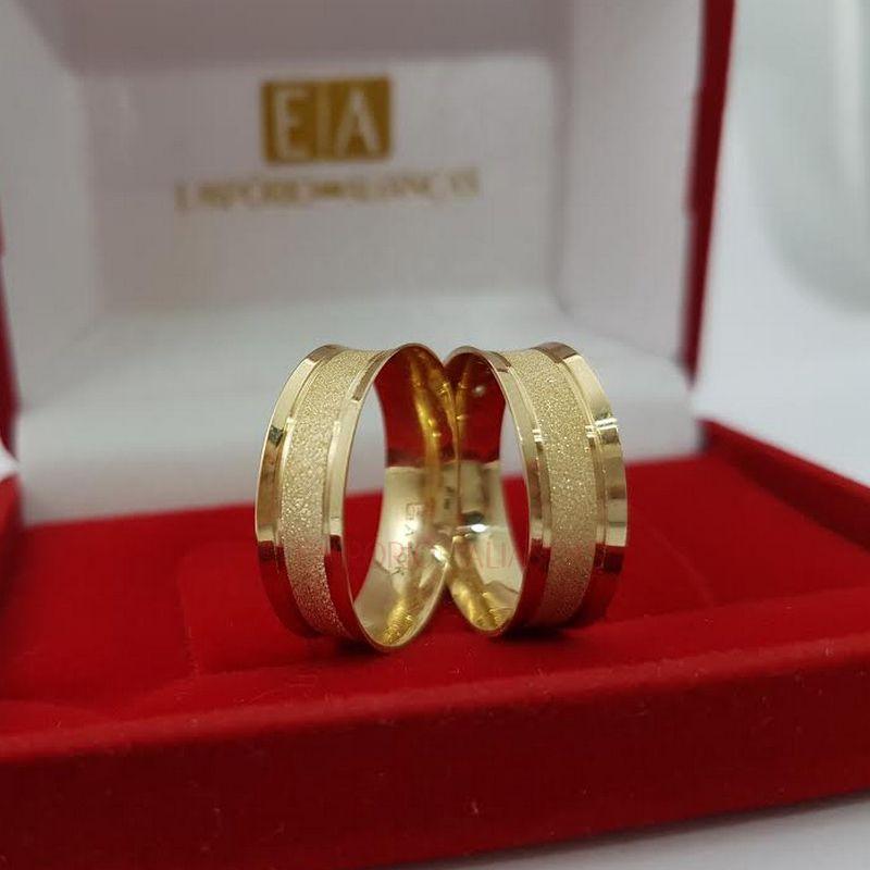 Alianças em Ouro Noivado Casamento 18kl Côncova Anatômica Fosca 6mm 7 Gramas