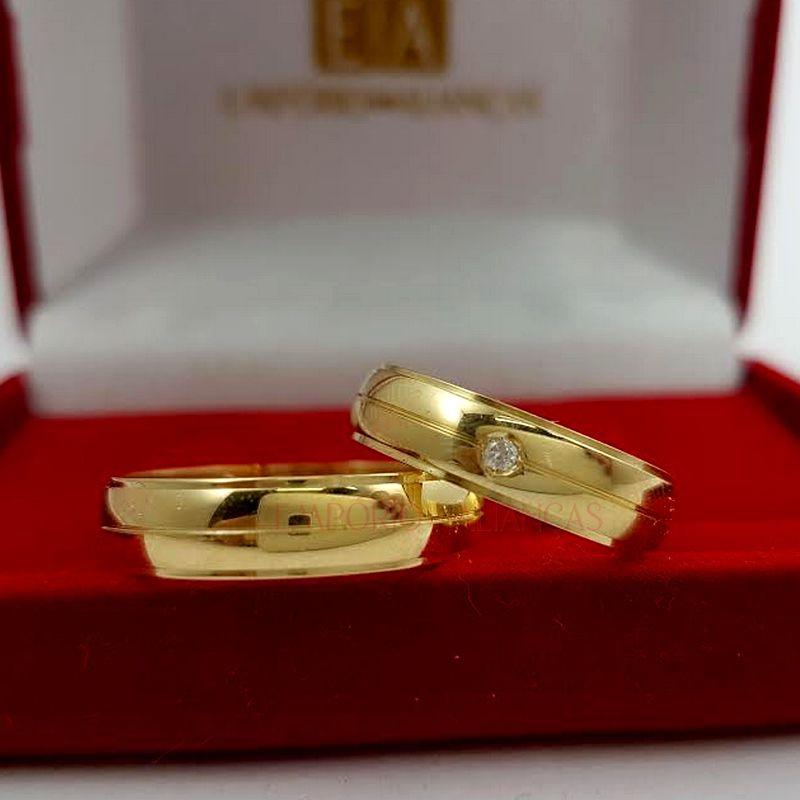 Alianças em Ouro Noivado Casamento 18kl Redonda Abaulada Pedra Brilhante Anatômica 6mm 10 Gramas