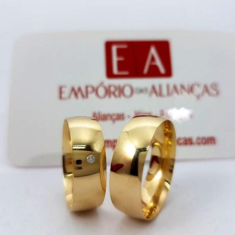 Alianças em Ouro Noivado Casamento 18kl Redonda Abaulada Pedra Brilhante Anatômica 7mm 11 Gramas