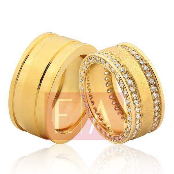 Alianças em Ouro Noivado Casamento Larga 10mm 28 Gramas Quadrada Brilhante