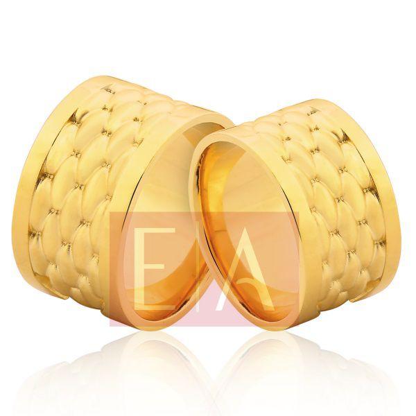 Alianças em Ouro Noivado Casamento Larga 12mm 28 gramas Quadrada