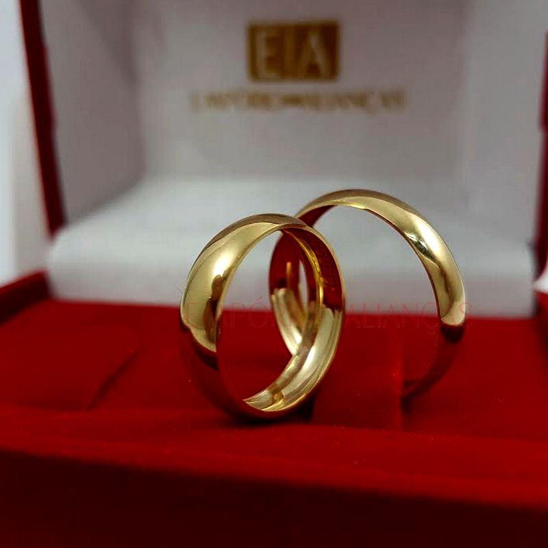 Alianças em Ouro Noivado Casamento Oca 4mm 3,20gr Lisa Abaulada Redonda