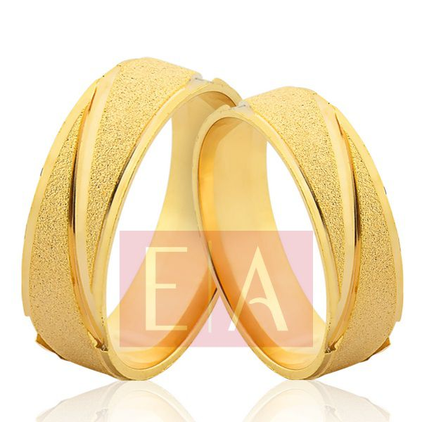 Alianças em Ouro Noivado Casamento Quadrada 6mm 10 Gramas Fosca Anatômica