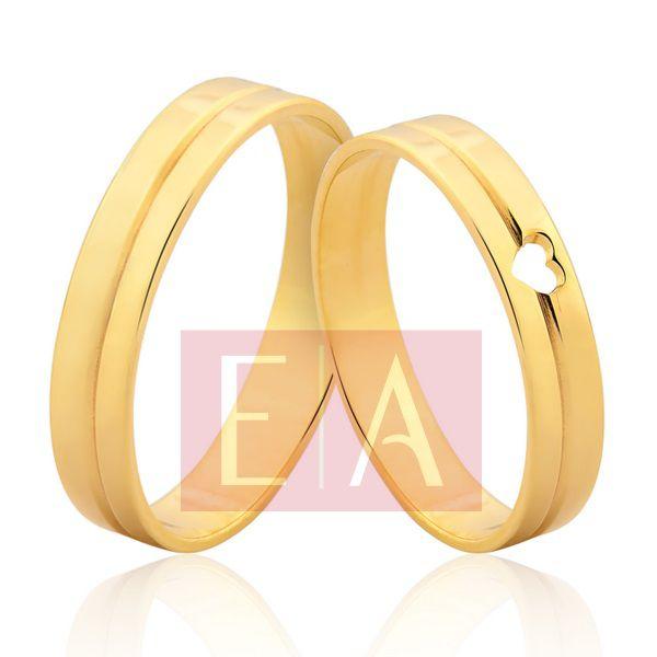 Alianças em Ouro Noivado Casamento Quadrada Coração Vazado 4mm 6 Gramas Reta
