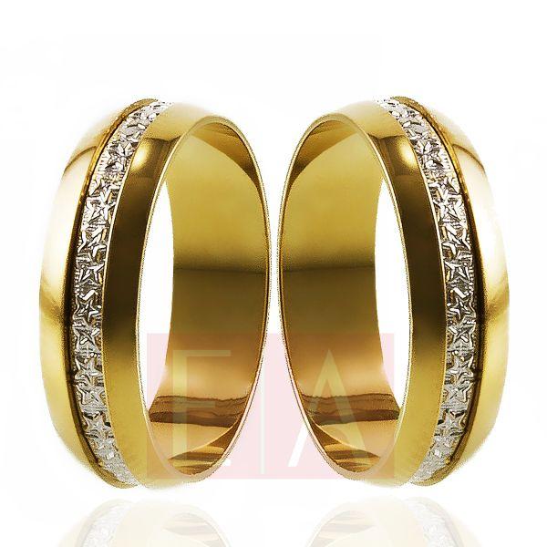 Alianças Ouro 18k Bodas de Prata Redonda Reta Filete Ouro Branco 5mm 7 Gramas